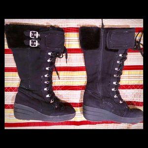 Torrid 9 wide width black wedge boot buckle fur